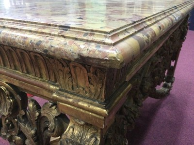 Lot 1315 - A HIGHLY ATTRACTIVE EARLY 19TH CENTURY FRENCH 'BAROQUE' GILTWOODCONSOLE TABLE