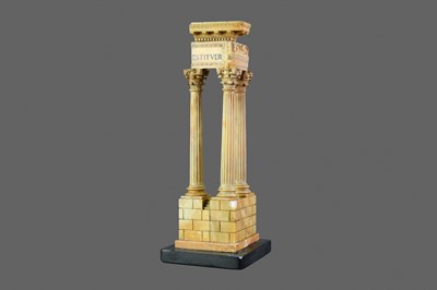 Lot 1438 - A GRAND TOUR STYLE SIENNA MARBLE MODEL OF THE TEMPLE OF VESPASIAN, ROME