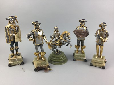 Lot 7-A GROUP OF FIVE VASARI MUSKETEER FIGURES