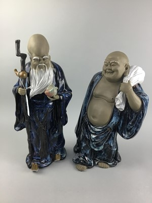 Lot 8-A 20TH CENTURY CHINESE PARTLY GLAZED BUDDHA FIGURE