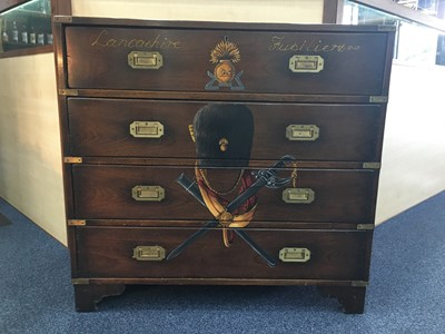 Lot 1311-A REPRODUCTION MAHOGANY CAMPAIGN CHEST