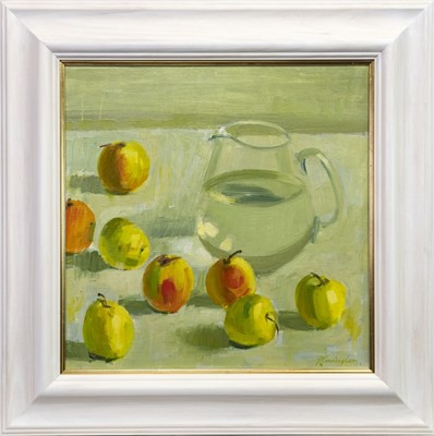 Lot 507-STILL LIFE WITH APPLES, AN OIL BY JOHN CUNNINGHAM