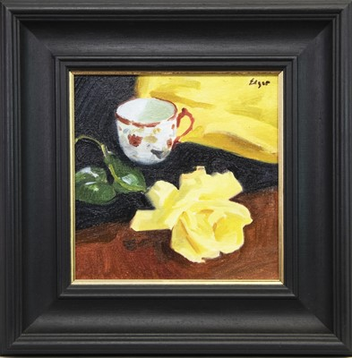Lot 509-STILL LIFE WITH YELLOW ROSE, AN OIL BY NORMAN EDGAR