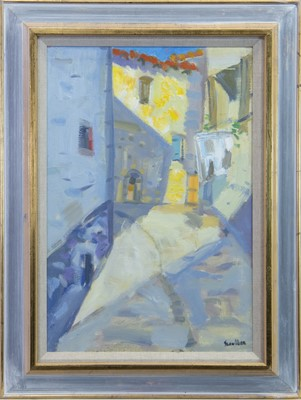 Lot 512-AFTERNOON SHADOWS, AN OIL BY GLEN SCOULLER
