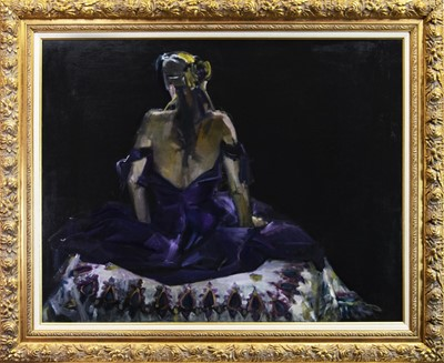 Lot 518-THE PURPLE DRESS, AN OIL BY MARION DRUMMOND