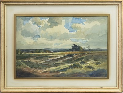 Lot 409-EXTENSIVE LANDSCAPE, A WATERCOLOUR BY PERCY LANCASTER