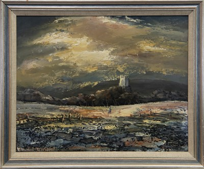 Lot 413-LANDSCAPE WITH FIGURE, AN OIL BY EDWARD ELLIOT