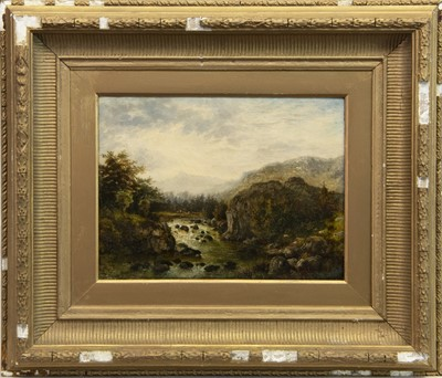 Lot 414-RURAL SCENE WITH ROCKY WATERFALL, AN OIL BY ALBERT EDMUND GYNGELL