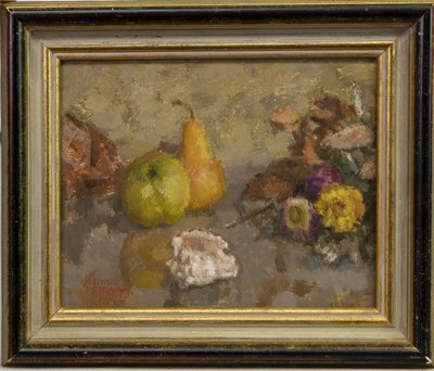 Lot 415-STILL LIFE WITH PEARS AND FLOWERS, AN OIL BY NORMAN SMITH