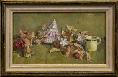 Lot 417-STILL LIFE WITH SHELLS, FLOWERS AND MUG, AN OIL BY NORMAN SMITH