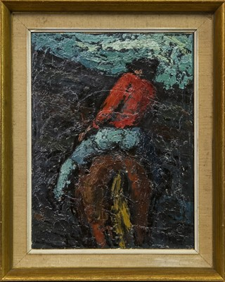 Lot 419-MAN ON HORSEBACK, AN OIL BY CHARLES WHITE