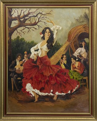 Lot 423-YOUNG WOMAN DANCING, AN OIL