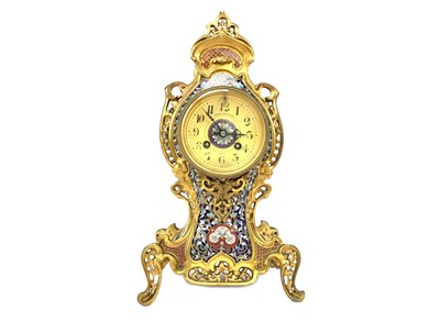 Lot 1108-A VICTORIAN BRASS AND CHAMPLEVE ENAMEL CLOCK