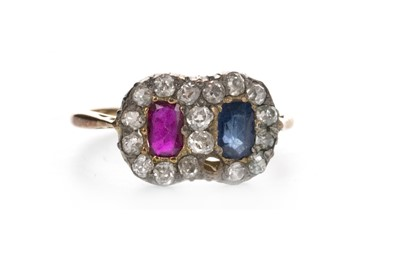 Lot 803 - A RED AND BLUE GEM SET AND DIAMOND RING