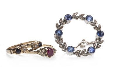 Lot 804 - A BROOCH AND TWO RINGS