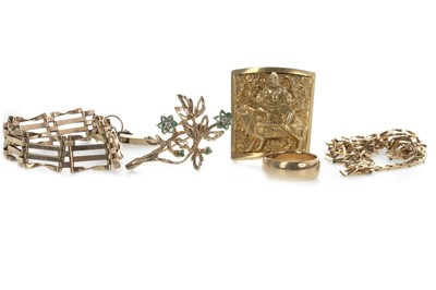Lot 805 - A GREEN GEM SET AND DIAMOND BROOCH AND OTHER GOLD ITEMS