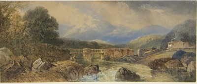 Lot 146-EXPANSIVE RURAL SCENE WITH ANGLERS, A WATERCOLOUR BY THOMAS MILES RICHARDSON
