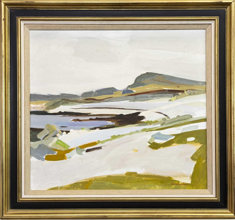 Lot 790 - RAISED BEACHES, COLONSAY, AN OIL BY JOHN CUNNINGHAM