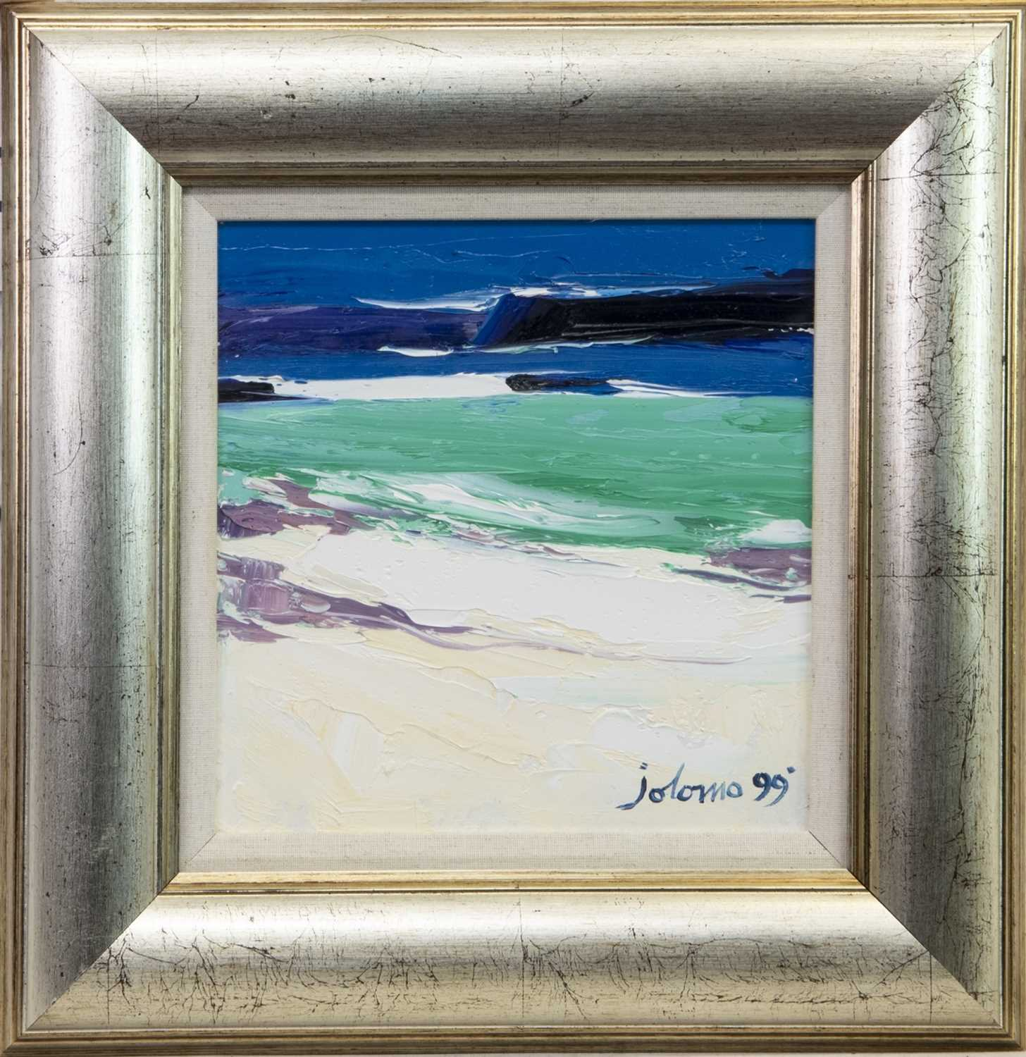 Lot 505 - WHITE STRAND, ISLE OF IONA, AN OIL BY JOLOMO