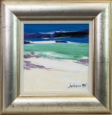 Lot 505-WHITE STRAND, ISLE OF IONA, AN OIL BY JOLOMO