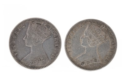 Lot 154 - ENGLAND - TWO QUEEN VICTORIA GODLESS FLORINS DATED 1849