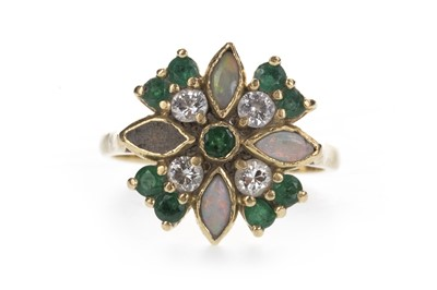 Lot 834 - A GREEN GEM SET, OPAL AND DIAMOND RING