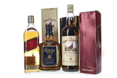 Lot 427 - FAMOUS GROUSE ONE LITRE, JOHNNIE WALKER RED LABEL AND BALLANTINE'S GOLD AGED 12 YEARS