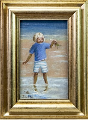 Lot 428-CHILD WITH A CRAB, A PASTEL BY ELIZABETH SHARP