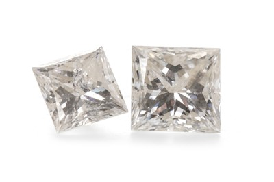 Lot 808 - TWO UNMOUNTED PRINCESS CUT DIAMONDS