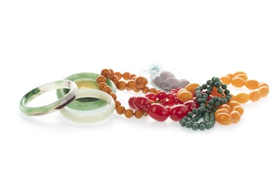 Lot 810 - A COLLECTION OF BEADED NECKLACES AND BANGLES