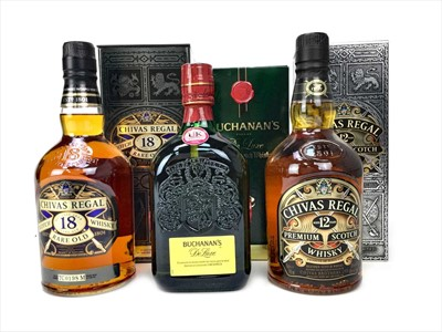 Lot 435 - CHIVAS REGAL RARE OLD 18 YEARS OLD, CHIVAS REGAL AGED 12 YEARS AND BUCHANAN'S AGED 12 YEARS