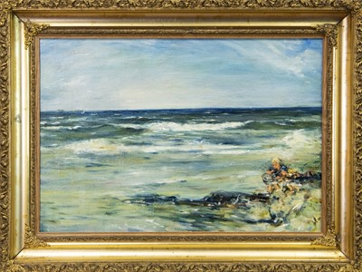 Lot 36-CHILDREN SHRIMPING, AN OIL BY WILLIAM MCTAGGART