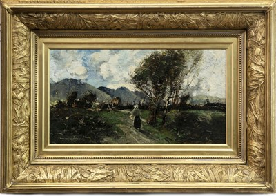 Lot 73-FIGURE ON A WOODLAND PATH, AN OIL BY WILLIAM ALFRED GIBSON