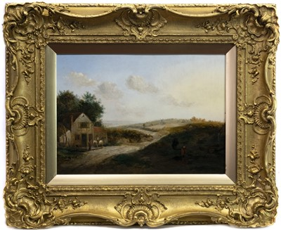 Lot 57-COUNTRY COTTAGE AND FIGURES BY A RIVER, AN OIL BY ALEXANDER NASMYTH