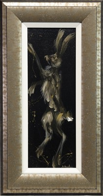 Lot 511-HAPPY HARES, A PAIR OF OILS BY ELAINE JOHNSTON