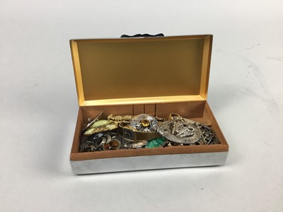 Lot 13-A SILVER PLATED CIGARETTE BOX ALONG WITH COSTUME JEWELLERY