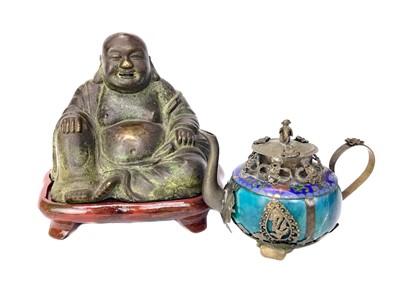 Lot 714-A CHINESE BRONZE BUDDHA AND A CHINESE TEA POT