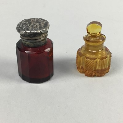 Lot 3-A COLLECTION OF FIVE COLOURED GLASS SCENT BOTTLES