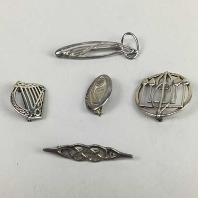 Lot 1-A LOT OF FIVE SILVER BROOCHES