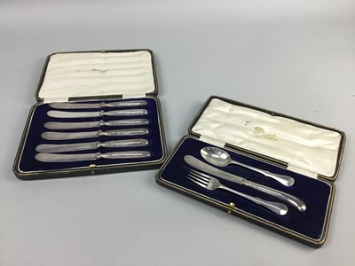Lot 10-A SILVER CHRISTENING SET AND A SET OF SILVER KNIVES