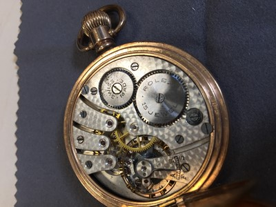 Lot 706 - A ROLEX HALF HUNTER GOLD PLATED KEYLESS WIND POCKET WATCH