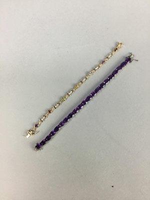Lot 19-A SILVER AMETHYST SET BRACELET AND ANOTHER