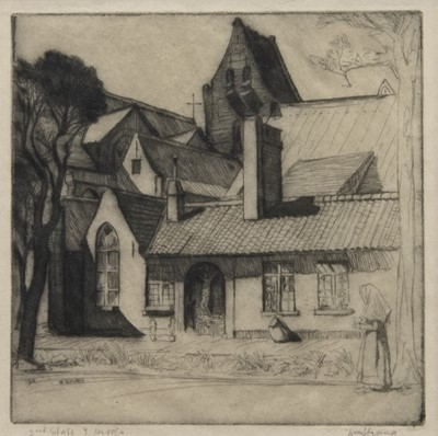 Lot 471 - A FRENCH CONVENT, AN ETCHING BY WILLIAM STRANG