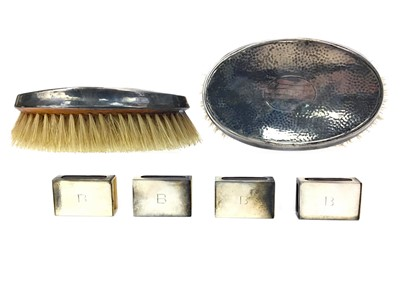 Lot 419-A LOT OF FOUR SILVER MATCHBOX HOLDERS AND TWO BRUSHES