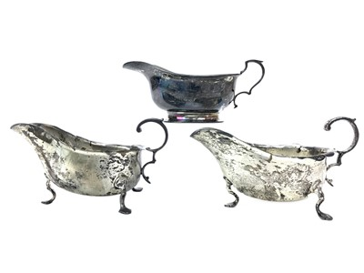 Lot 420-A LOT OF THREE SILVER SAUCE BOATS