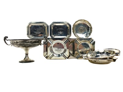 Lot 421-A GEORGE V TWIN HANDLED STEMMED SILVER DISH AND OTHER SILVER DISHES