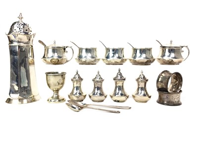 Lot 425-A LOT OF SILVER CONDIMENT JARS, SHAKERS AND NAPKIN RINGS
