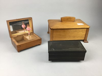 Lot 21-AN ART DECO STYLE RECTANGULAR CASKET AND TWO MUSIC BOXES