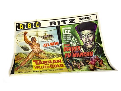 Lot 1303-A TARZAN AND THE VALLEY OF GOLD/THE BRIDES OF FU MANCHU DOUBLE QUAD FILM POSTER