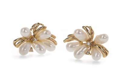 Lot 830 - A PAIR OF PEARL AND DIAMOND CLUSTER EARRINGS